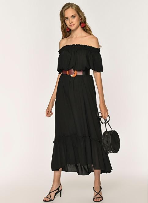 Loves You Carmen Yaka Krinkıl Vual Elbise Siyah